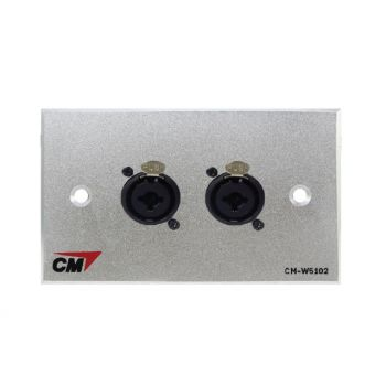 CM CM-W5102CB Audio Video Inlet / Outlet Plate with Combo Jack , 2 Port  แผ่นติด Combo ตัวเมีย 2 ช่อง