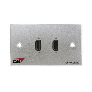 CM CM-W5102HDCB Audio Video Inlet / outlet Plate With HD MI Cable 20 cm , 2 Port Series 2  แผ่นติด HMDI แบบสายยาว 20 เซนติเมตร 2 ช่อง