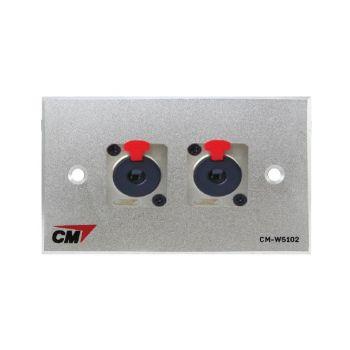 CM CM-W5102PJ Audio Video Inlet / outlet Plate with Phone 1/4 Jack , 2 Port  แผ่นติด ล็อคกิ้งโฟน 1/4 , 2 ช่อง