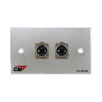 CM CM-W5102XEP Audio Video Inlet / outlet Plate With Jack RJ45 D Mount , 2 Port ( แผ่นติด Jack RJ45 ติดแท่นแบบย้ำ 2 ช่อง )