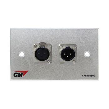 CM CM-W5102XFM Audio Inlet / Outlet Plate Microphone with XLR Female x1, XLR Male x1  แผ่นติด XLR ตัวเมีย 1 ช่อง , ตัวผู้ 1 ช่อง