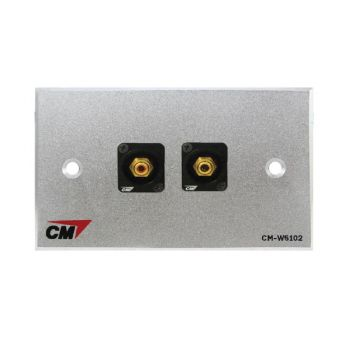 CM CM-W5102XR Audio Video Inlet / outlet Plate with RCA D Shell , 2 Port  แผ่นติด RCA แบบ Shell 2 ช่อง