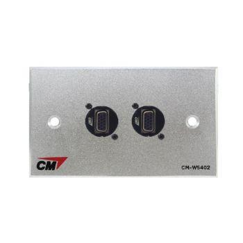 CM CM-W5402XVF Video Inlet / Outlet Plate Video with VGA D Shell , 2 Port Series 1  แผ่นติด VGA ตัวเมีย แบบติดแท่น 2 ช่อง