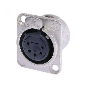 Neutrik NC5FD-L-1  XLR 5 Pin Female D-size receptacle  5 pole female receptacle, solder cups, Nickel housing,silver contacts  Universal D-size metal body XLR panel mount series. UL recognized component.