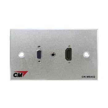 CM CM-W5402V35H Audio Video Inlet / outlet Plate with VGAx1 , Jack3.5mm2x1 , HDMI Cablex1 ( แผ่นติด VGA ตัวเมีย 1 ช่อง , Jack3.5mm2 1 ช่อง , HDMI แบบสาย 1 ช่อง )