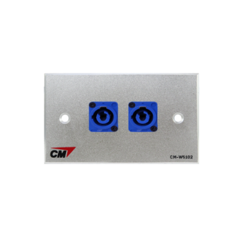 CM CM-W5102XACI Audio Video Inlet / outlet Plate with Powercon In , 2 Port  แผ่นติด Powercon lineIn 2 ช่อง