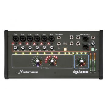 Studiomaster digiLive-8C The Studiomaster Digilive 8C mixer is an ultra compact 4 channel digital mixer which is ideal for the performing soloist, duo and small band.
