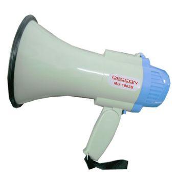 DECCON MG-1002B โทรโข่งอัดเสียงได้ เสียงไซเรน ขนาดเล็ก 6 นิ้ว พร้อมไมโครโฟน 25 วัตต์