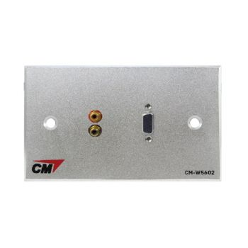 CM CM-W5502VR2 Inlet / Outlet Plate with VGAx1,Jack RCAx2  แผ่นติด VGA 1 ช่อง , Jack RCA 2 ช่อง