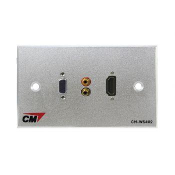 CM CM-W5402VRH Audio Video Inlet / outlet Plate with VGAx1 , RCAx2 , HDMI Cablex1 ( แผ่นติด VGA ตัวเมีย 1 ช่อง , RCA 2 ช่อง , HDMI แบบสาย 1 ช่อง )
