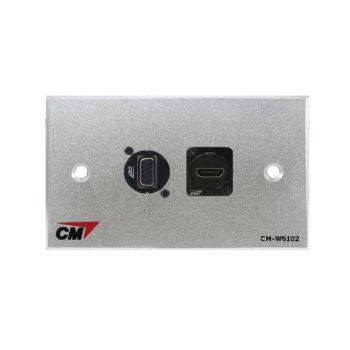 CM CM-W5402XVH Audio Video Inlet / outlet Plate with VGA D -Shellx1 , HDMI D-Shellx1 ( แผ่นติด VGA D -Shell 1 ช่อง , HDMI D-Shell แบบตรง 1 ช่อง )