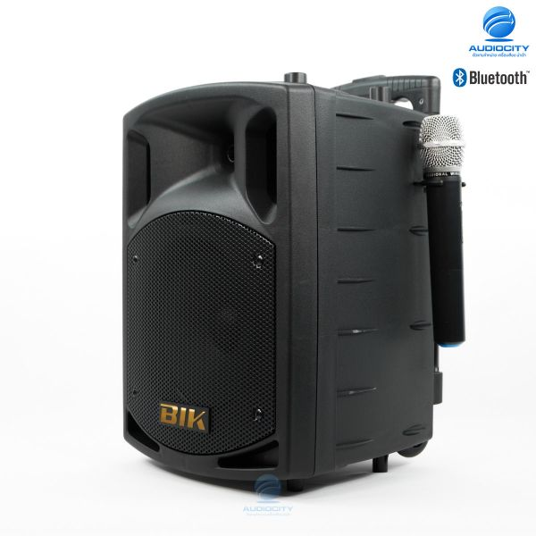 "BIK SLC-8 ตู้ลำโพง 8"" เล่นแผ่น CD ได้ พร้อมไมค์ลอย VHF 2 ไมโครโฟน แบตเตอรี่แห้ง ชาร์ตไฟได้ในตัว PA POTRABLE SPEAKER SYSTEM DVD/CD/USB/MP3 ตู้แอมป์อเนกประสงค์"