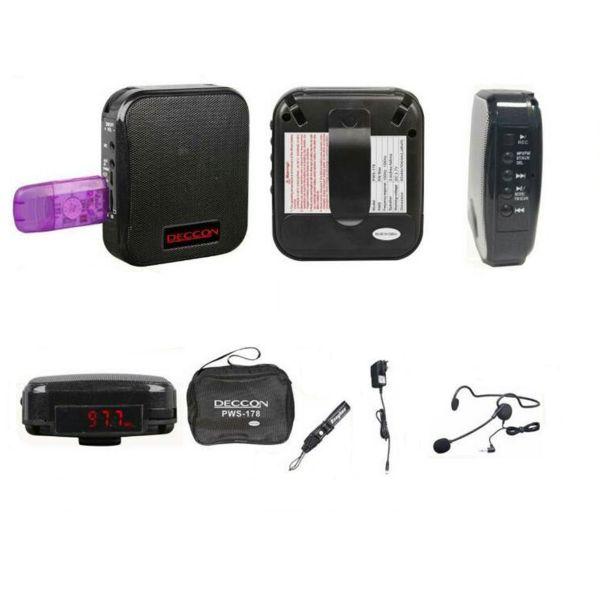 DECCON PWS-178 เครื่องเสียงพกพาคาดเอว มีไมโครโฟนพร้อมใช้งาน ลำโพงขยายเสียงไร้สายคาดเอว รองรับ MP3 USB/FM/บันทึกเสียง/Bluetooth