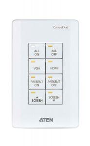 ATEN VK0100-WH   Meeting room controller ที่อยู่ในรูปของ Keypad 8 ปุ่ม (Control Pad) ออกแบบมาให้ติดตั้งกับผนังห้องประชุมแบบถาวร สามารถควบคุมอุปกรณ์ไฟฟ้าต่าง ๆ