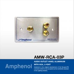 Amphenol AMW-RCA-03P Audio Outlet Panel Aluminium With RCA, 3 Port แผ่นเพลท RCA, 3 Port